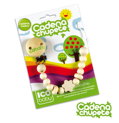 Picture of PACIFIER'S CHAIN FORM BEECH WOOD  ICOBABY 7171