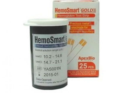 Picture of ΗEMOSMART GOLD TEST STRIPS OF 25PCS MEASUREMENT OF HAEMOGLOBIN IN WHOLE BLOOD