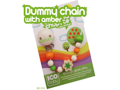 Picture of PACIFIER'S CHAIN FORM BEECH WOOD AND AMBER  ICOBABY 5170