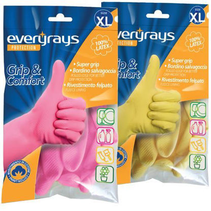 Picture of LATEX KITCHEN GLOVES  YELLOW EXTRA LARGE EVERYRAYS