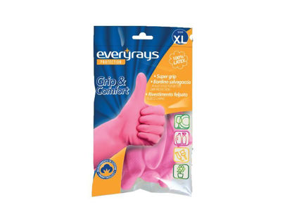 Picture of Γάντια Latex κουζίνας ροζ Extra Large