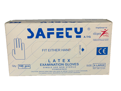Picture of LATEX EXAMINATION GLOVES SAFETY AT/G MEDIUM
